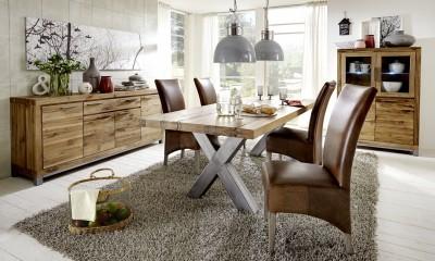 Tischgruppe-Sideboard-Highboard-Balkeneiche-Massivholz